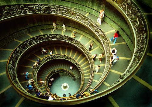 Vatican Staircase by Sami Ur Rahman - Buildings & Architecture Other Interior ( staircase, visitors, swirling movement, vatican, italy )