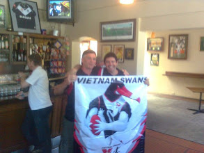 Photo: Bac at the London, Fabbo and Monkey with Ross' new banner.