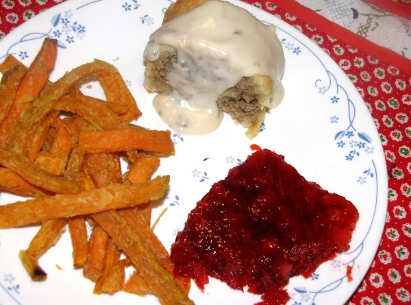 I served this with Cranberry Salad and Sweet Potato Fries that were baked and...