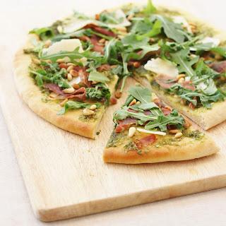 Pesto Pizza with Grana Padano and Prosciutto di San Daniele
