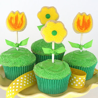 Spring Cupcakes with Cookie Toppers.