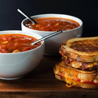 Roasted Tomato Soup with Grilled Cheese Toasties