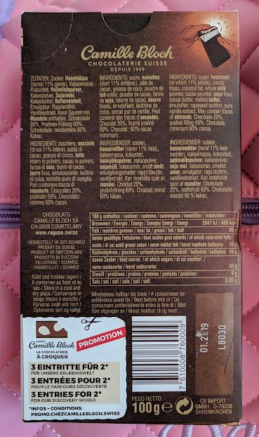 60% Truffle and Hazelnuts Camille Bloch Bar