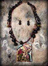 Photo: # 204 THE BURNING BUSH ~ НЕОПАЛИМА КУПИНА  - copper enamel pendant, garnet, rainbow jade, copper, gold plate   $160/set SOLD