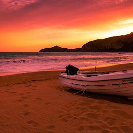 Sunset in Corfu by Łukasz Rogalski - Landscapes Sunsets & Sunrises ( corfu, greece, corfu greece, sunset, beach )