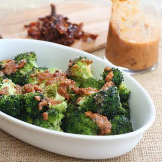 Roasted Broccoli With Bacon Sun-dried Tomato Vinaigrette.