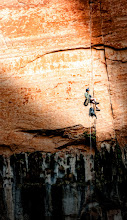 Photo: The Descent  After arriving at the upper pool on the Emerald Springs Trail in Zion we noticed some movement in the upper rocks. Holy crud, there were people up there! I was sure they weren't planning on diving into the pool below, that would have been suicide. Not long after we saw them a rope was lowered down - phew!. We stood around watching and waiting for them to come down and finally they did. Nutters!  This was from my second day up in Zion with +Brian Matiash, +Jake Johnson, +Jason Stone, +Christopher Germano, and +Jacob Lucas. I was happy to have the repellers there to watch after seeing the Emerald Pools, which is a total misnomer at the end of the summer, it would have been more appropriate to name them the Sludge Pools.