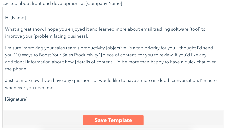 HubSpot follow-up email template