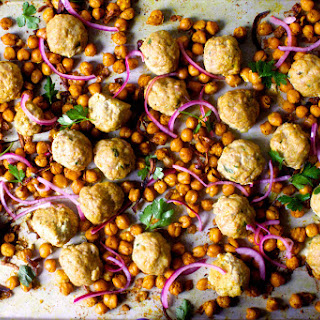 Sheet Pan Meatballs with Chickpeas, Turmeric and Lemon.