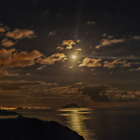 Moonlight by Peter Louer - Landscapes Waterscapes ( reflection, moon, tenerife, moonlight, nightscape )