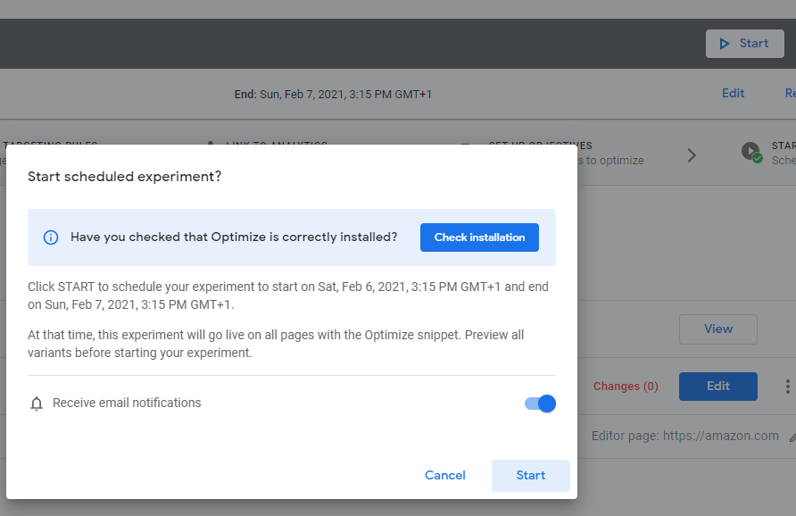 Starting your test in Google Optimize
