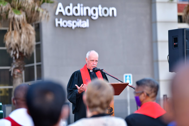 Addington Hospital was the backdrop to the service.
