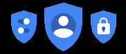 Three shield icons