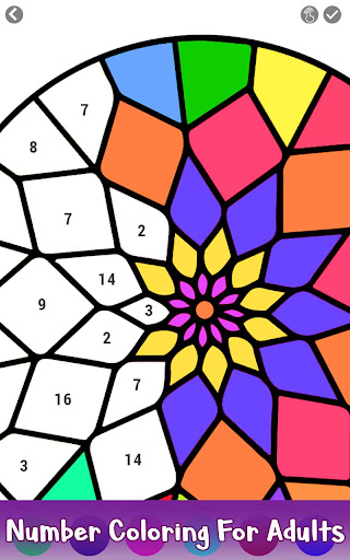 Adult Color by Number Book - Paint Mandala Pages