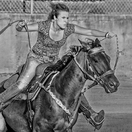 Intense barrel racer by Joe Saladino - Black & White Sports ( horse, monochrome, barrel racer, competition, girl, rider )