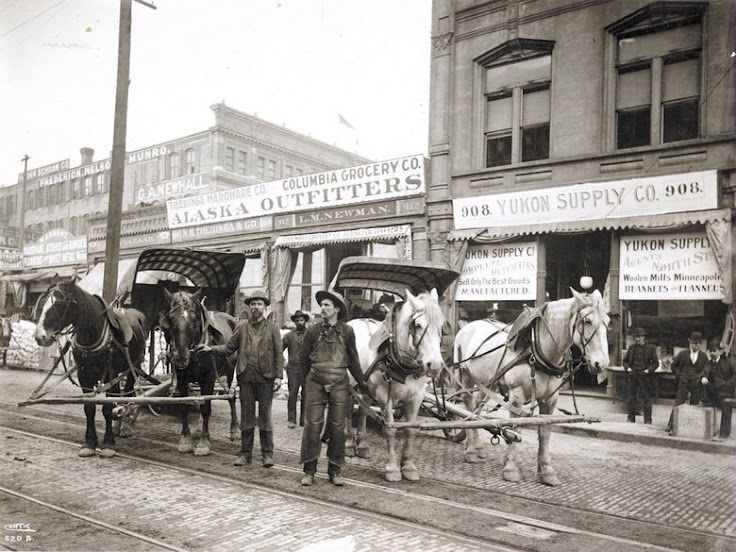 Businesses in Pioneer Square outfitted thousands of stampeders en route to Yukon. Photo: Seattle Times Archives.