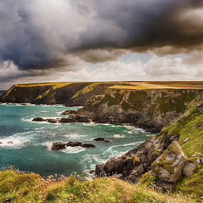 Godrevy by Sarah Tregear - Landscapes Beaches ( godrevy, cliffs, cornwall, rocks, cliff, grass, clouds, water, hayle, sea,  )
