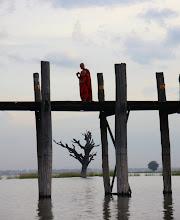Photo: Year 2 Day 55 -  Two Monks on U Bein's Bridge in Amarapura