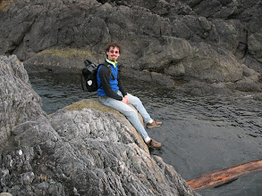 Photo: Day 2: The trail ended at a small rocky beach. Jamey found a rock to sit on and enjoy the sound of the waves.
