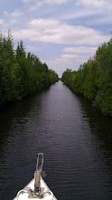 Photo: And it keeps on being a narrow channel ahead of us.