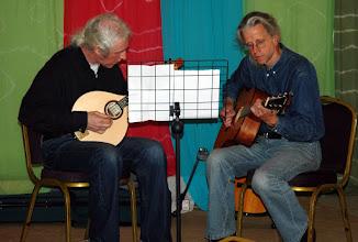 Photo: Vince Ash and Dave Aragon providing string accompaniment to the Saturday Coffee Shop & Market.© Owain Jones 2008