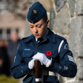 Remembering The Fallen by Garry Dosa - People Portraits of Women ( gun, remembrance day, uniforms, portrait, people, standing, celebration, blue, outdoors, white, cadet, ceremony, solemn, event, rifle )
