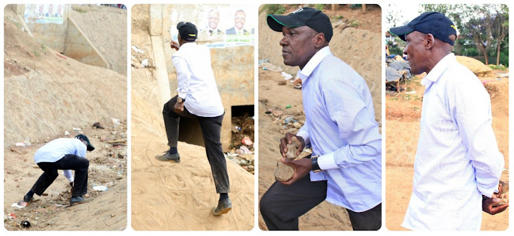 Former Kakamega Senator Boni Khalwale captured with stones