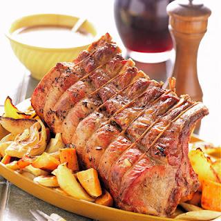 Garlic Roast Pork with Root Vegetables Recipe