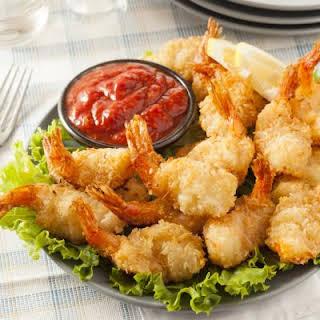 Oven-Fried Shrimp And Marinara Sauce.