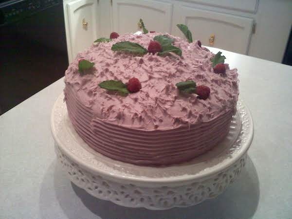 White Chocolate Raspberry Ribbon Cake