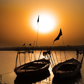 The Lonely Boats by Arup Acharjee - Transportation Boats ( water, ganges, varanasi, sunrise, boat )