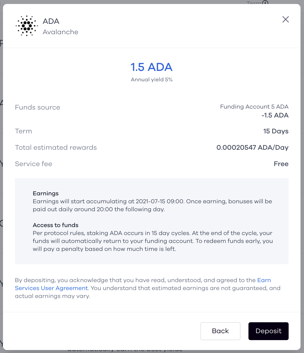 Confirm ADA Token Deposit