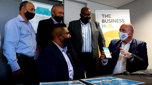 Cape Town's mayoral committee member for economic opportunities and asset management, alderman James Vos (far right), at the launch of Jobs Connect.