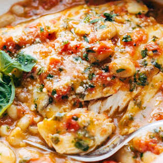 Garlic Basil White Fish Skillet with Tomato Butter Sauce.