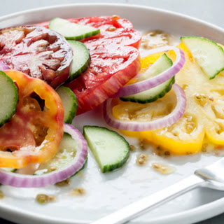 Heirloom Tomato, Cucumber and Red Onion Salad.