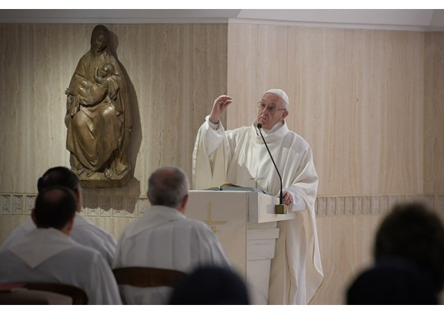 Pope Francis preaching a homily at Mass in the chapel of Santa Marta in the Vatican, Oct 9, 2017.