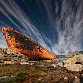 Chosen Place II  by Þorsteinn H. Ingibergsson - Transportation Boats ( clouds, iceland, sky, nature, ship, wreck, structor, boat, landscapw, abandoned )