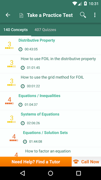Algebra 1 Prep: Practice Tests and Flashcards – (Android Aplikace