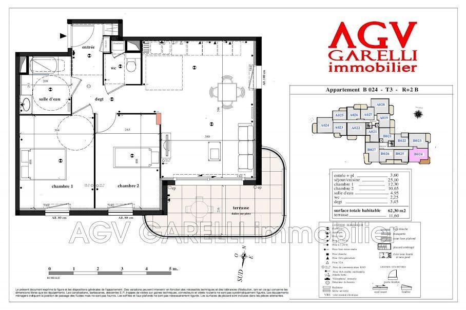 Vente appartement 3 pièces 62.3 m² à Toulon (83100), 309 500 €