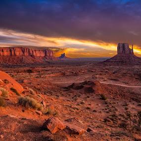 Monument Vallery Sunset by Matthew Clausen - Landscapes Deserts ( red, orange, national park, monument valley, arizona, background, sunset, travel, landscape )
