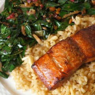 Brown Sugar & Bourbon Glazed Salmon.