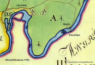 Photo: Storskiftes karta år 1793 visar att det fanns konsthjul och kvarn vid Storån nedström Kårbergs övre Hammare.
