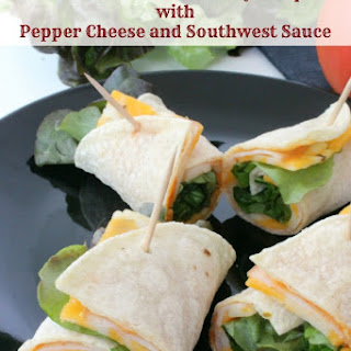Smoked Tortilla Turkey Wrap with Pepper Cheese and Southwest Sauce.