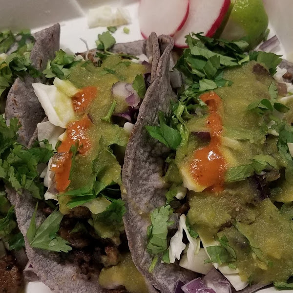 Asada tacos. Salsa Verde is D'lish!