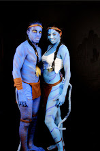 Photo: Avatar couple. Male model Body Painted by Paola from http://www.BestPartyPlanner.net