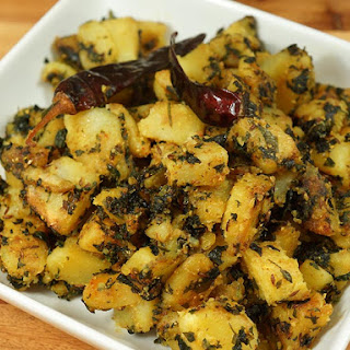 Aloo Methi (Potatoes with Fenugreek Leaves).