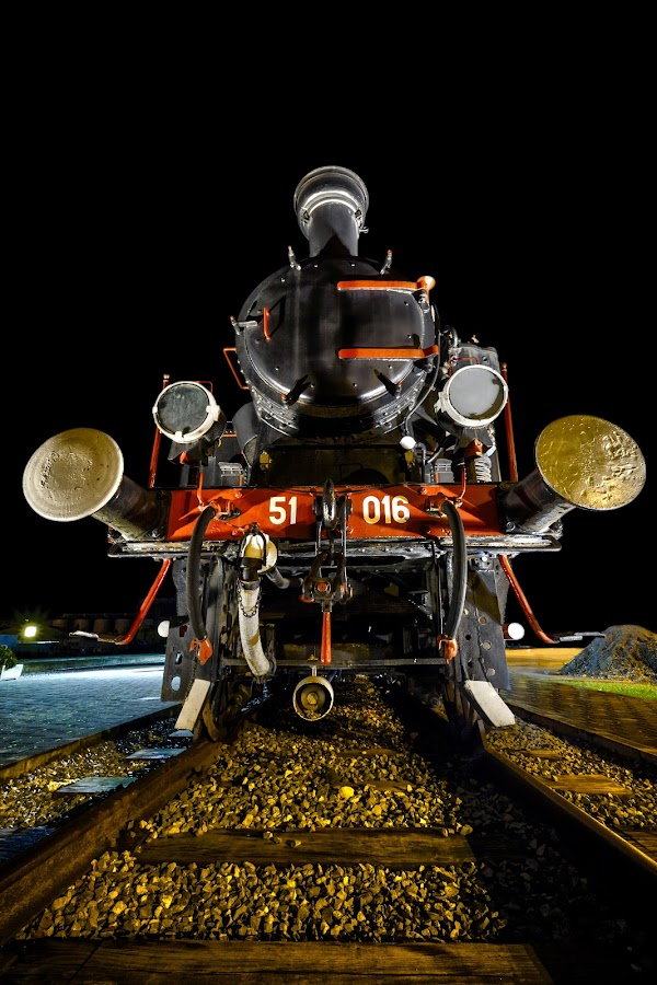 Return of the Steam Beast by Mladen Bozickovic - Transportation Trains ( old, ancient, rails, transport, locomotive, train, night, steam beast, iron )