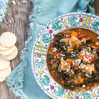 Lasagna Minestrone Soup with Lentils and Kale.