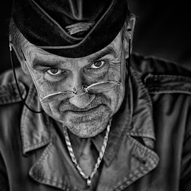 by Marco Bertamé - Black & White Portraits & People ( chain, gi, american, portrait, eyes, glasses, spotting, cap, ww2, headshot, spectacles, looking, military, man, two eyes, human, us,  )