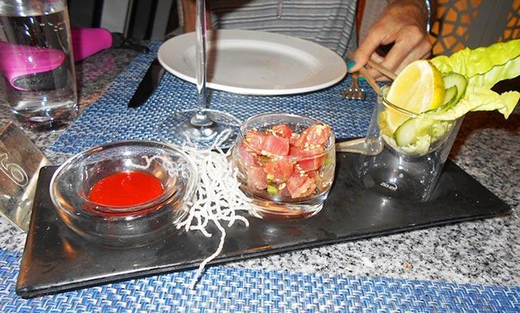 An ahi poke spread at Tastes.